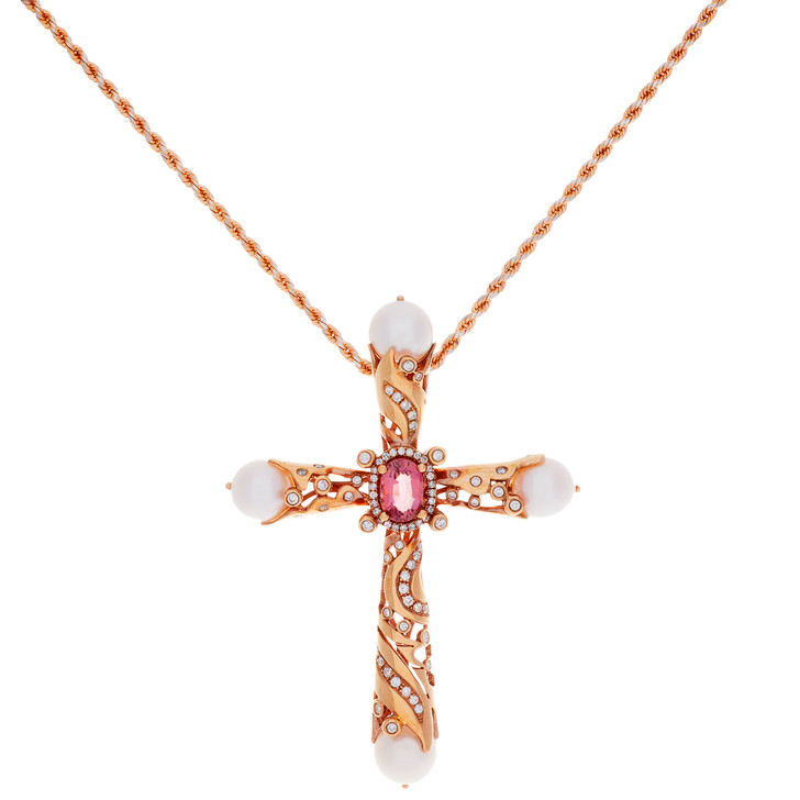 18K Rose Gold Diamond Sapphire Cross Pendant