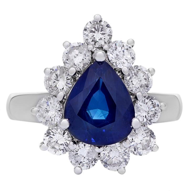18K White Gold 2.60 Carat Sapphire Diamond Ring