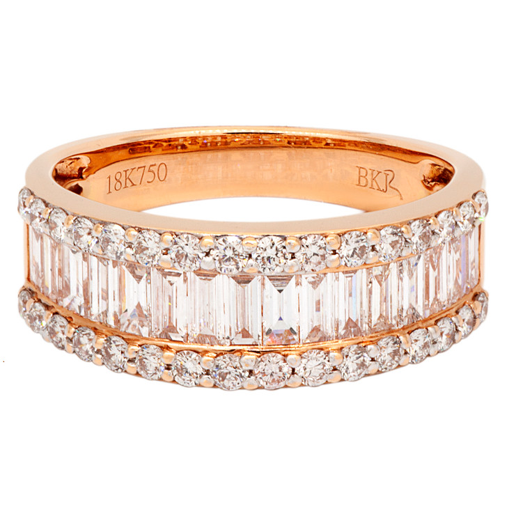 18K Rose Gold Baguette Diamond Ring