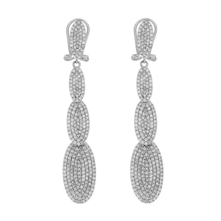 14K White Gold Pave Diamond Drop Earrings