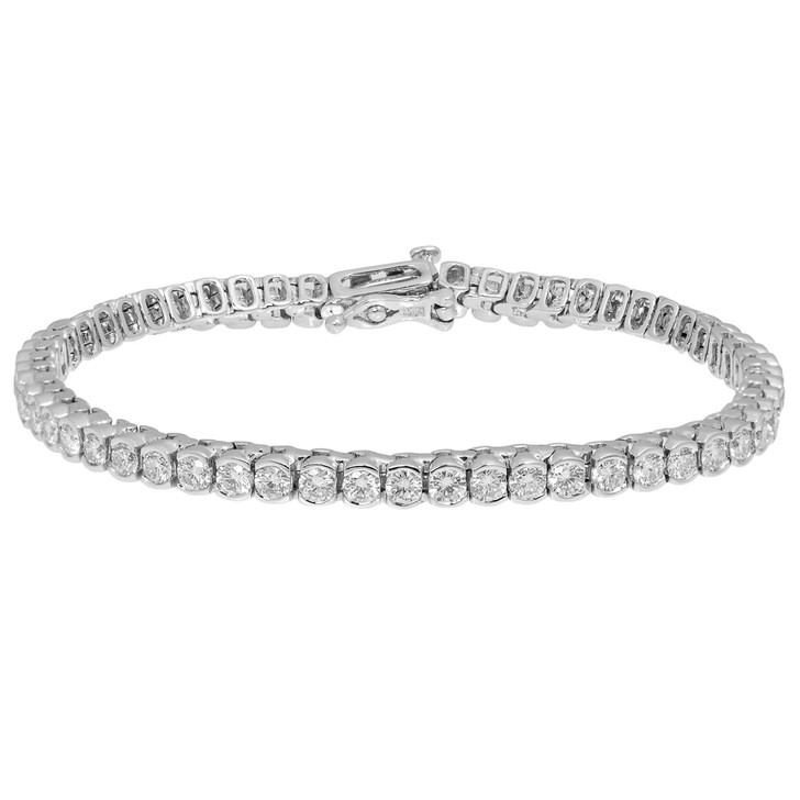 18K White Gold 4.08 Carat Diamond Tennis Bracelet