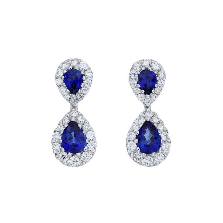 18K White Gold Sapphire Diamond Drop Earrings