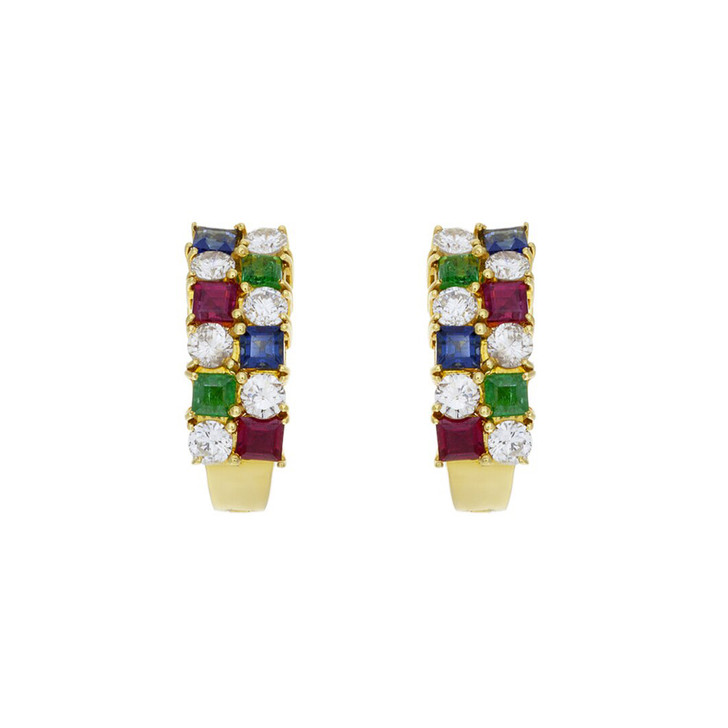 18K Gold Sapphire Ruby Emerald Diamond Earrings
