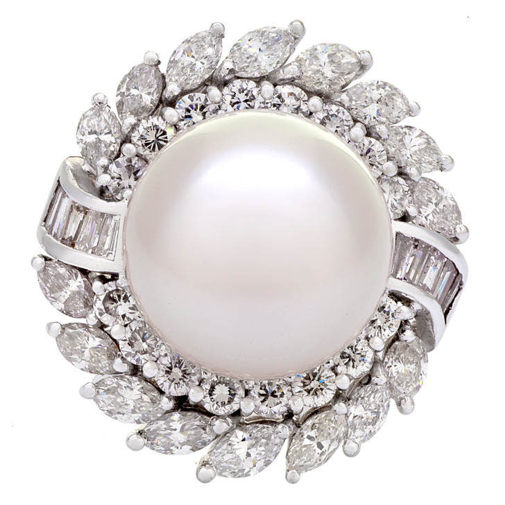18K White Gold South Sea Pearl Diamond Cluster Ring