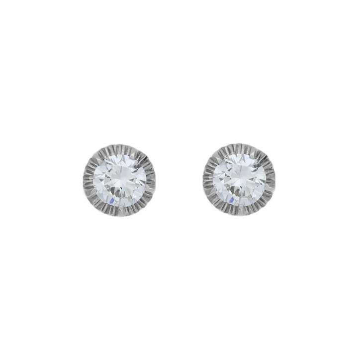 14K White Gold 1.13 Carat Diamond Stud Earrings
