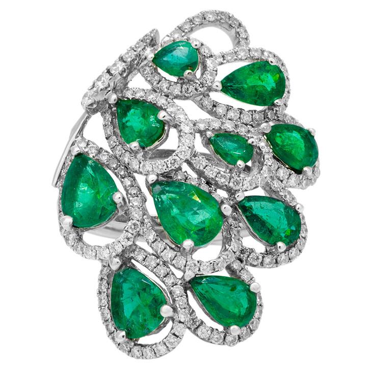 18K White Gold Emerald Diamond Peacock Ring