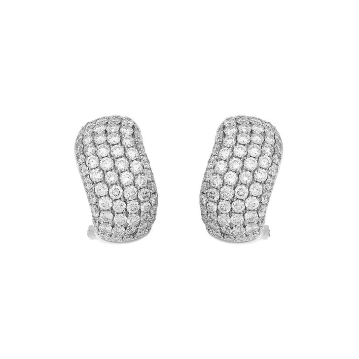 18K White Gold 2.74 Carat Pave Diamond Earrings