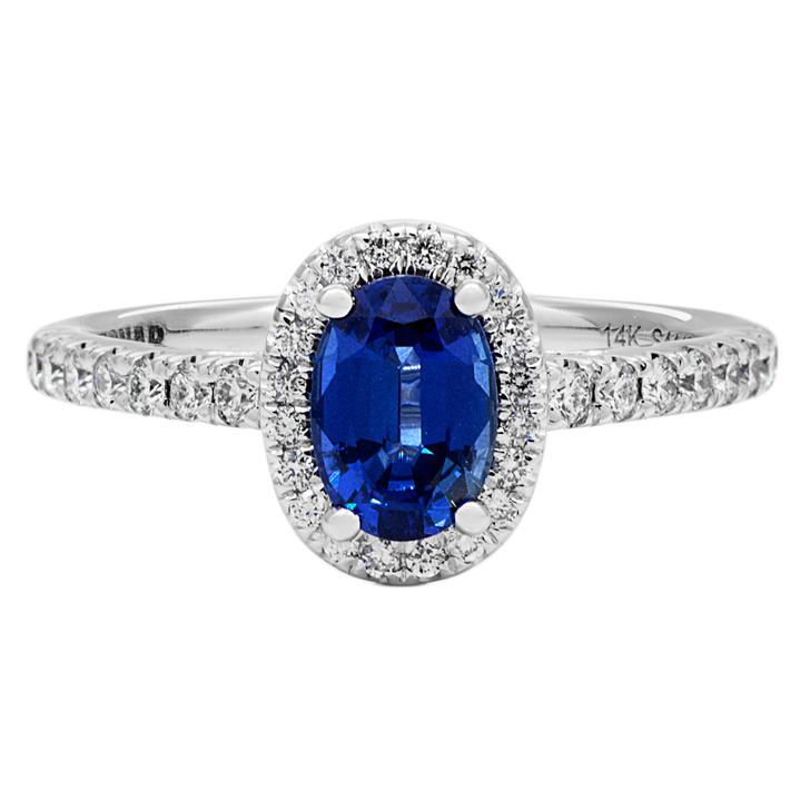 14K White Gold Sapphire Diamond Ring
