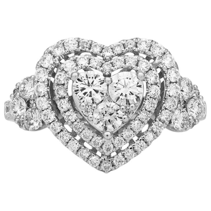 18K White Gold 1.29 Carat Pave Diamond Heart Ring