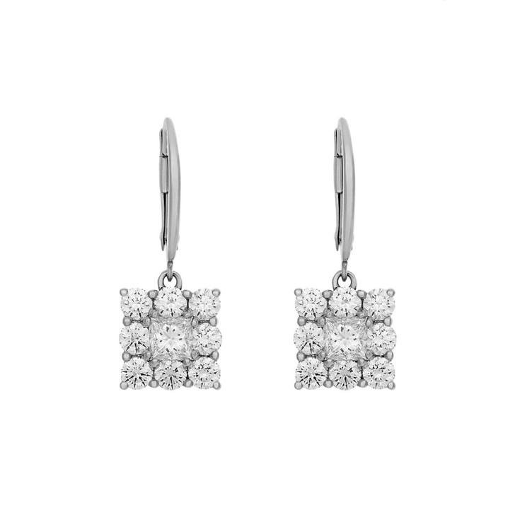 18K White Gold 2.20 Carat Diamond Drop Earrings