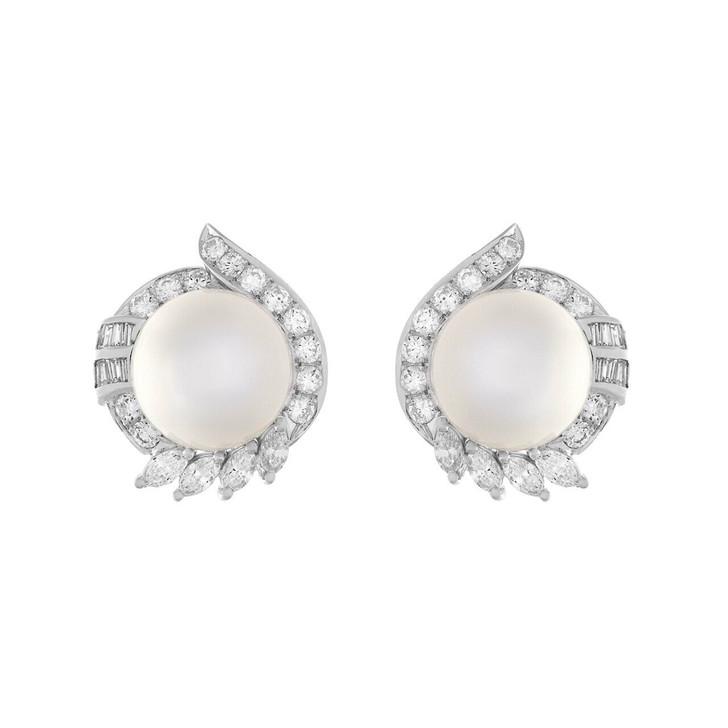 18K White Gold South Sea Pearl 2.10 Carat Diamond Earrings