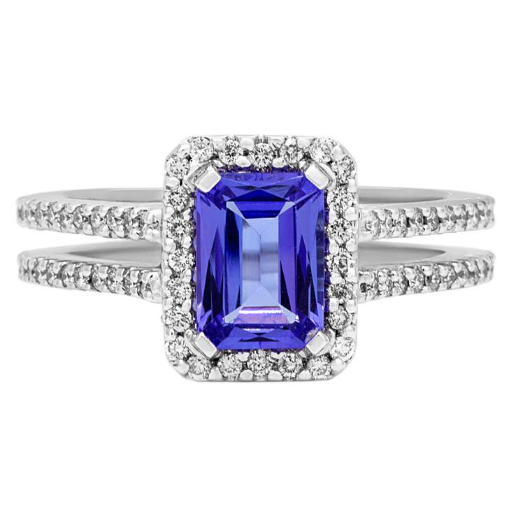 14K White Gold Tanzanite Diamond Ring