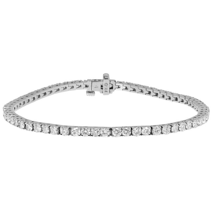 14K White Gold 3.02 Carat Diamond Tennis Bracelet