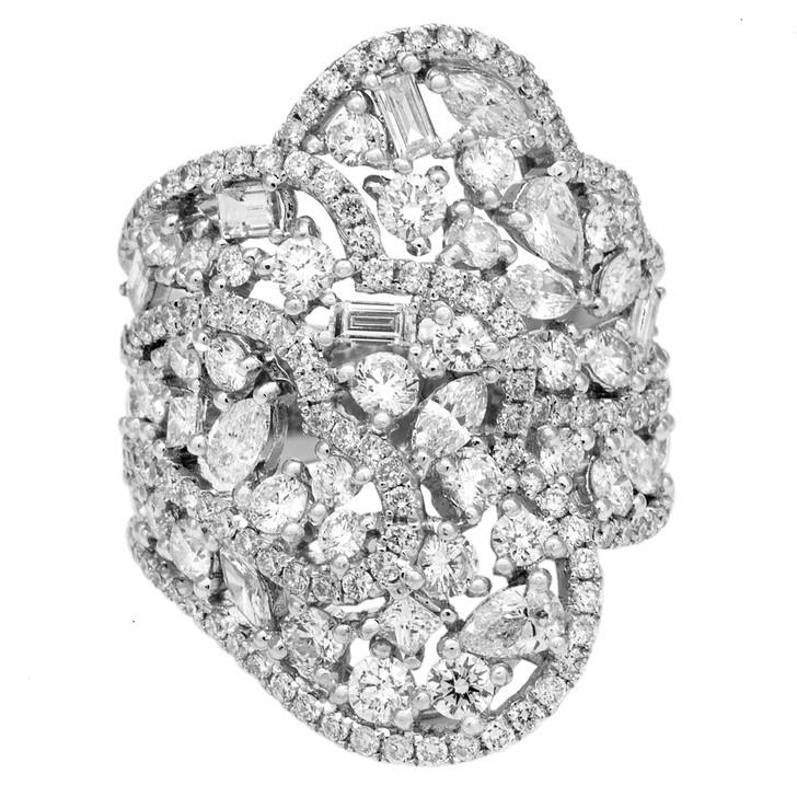 18K White Gold 3.09 Carat Pave Diamond Ring