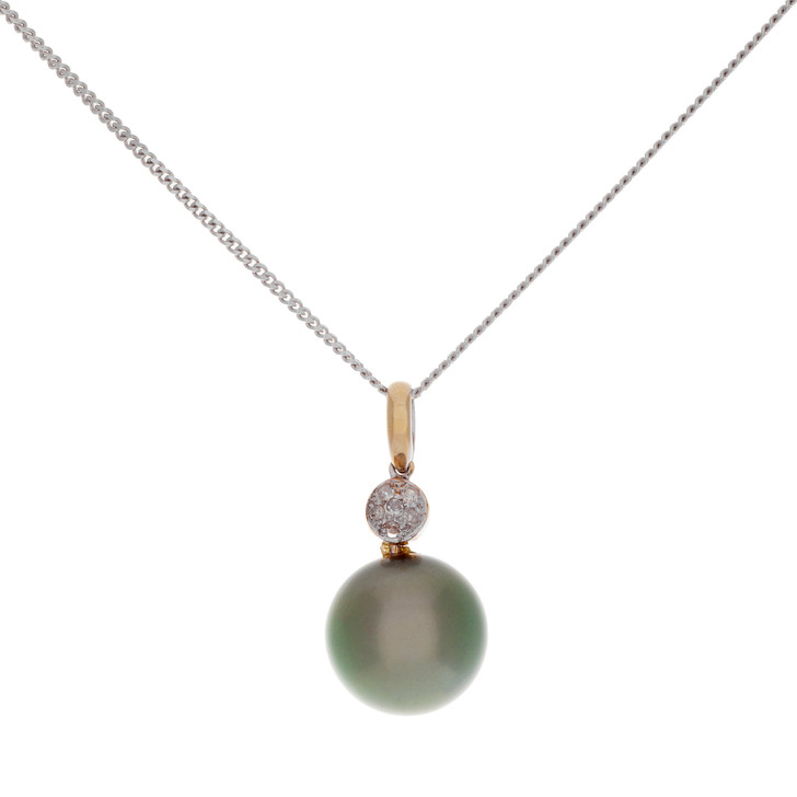 14K Gold Tahitian Pearl Diamond Pendant