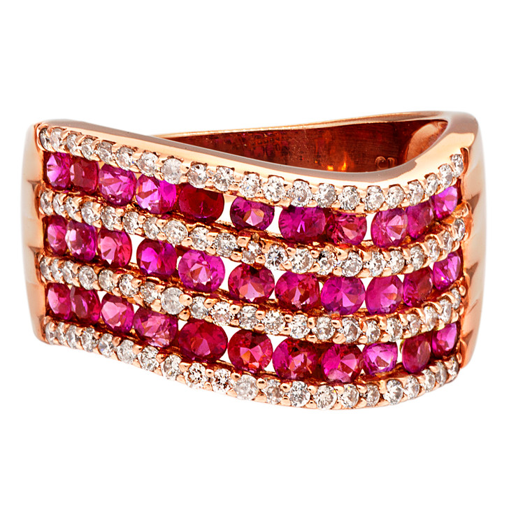 14K Rose Gold Pink Sapphire Diamond Ring
