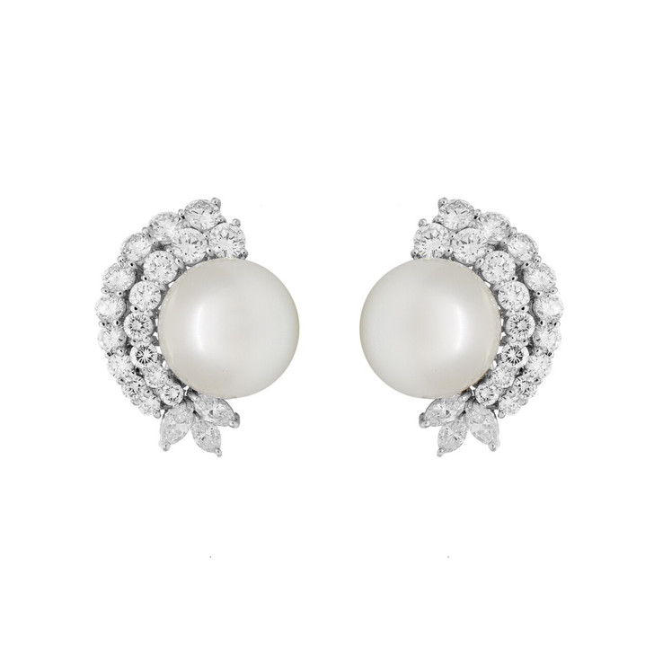 18K White Gold South Sea Pearl 4.22 Carat Diamond Earrings