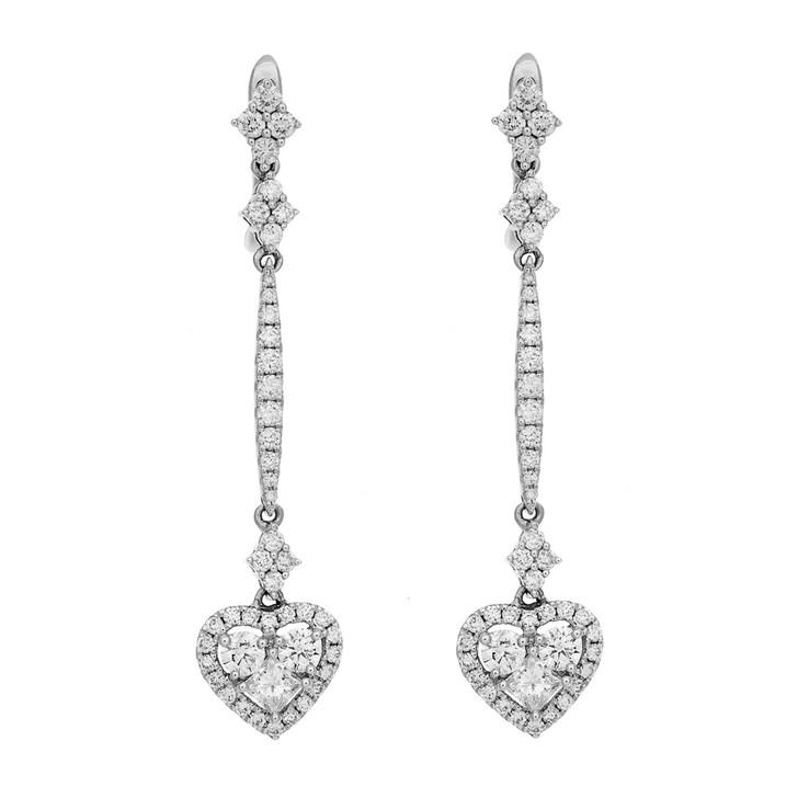 18K White Gold 1.44 Carat Diamond Heart Drop Earrings