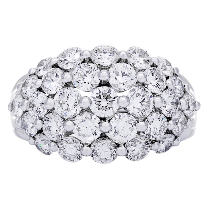 18K White Gold 3.07 Carat Diamond Cluster Ring