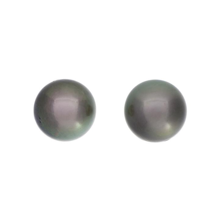 14K White Gold Tahitian Black Pearl Earrings
