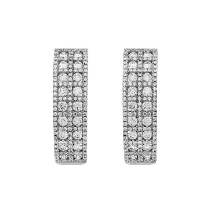 18K White Gold 1.54 Carat Diamond Hoop Earrings