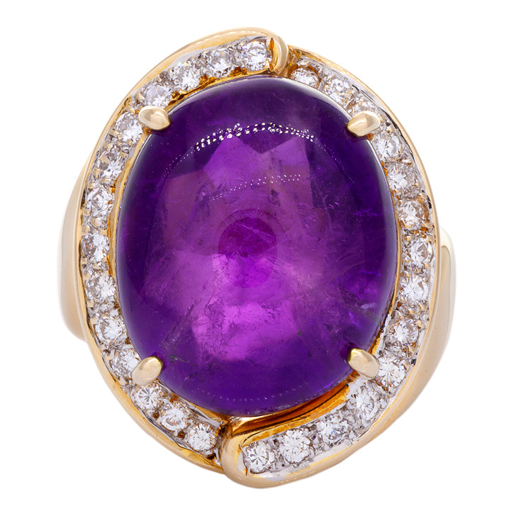 18K Rose Gold 10.86 Carat Amethyst Diamond Ring