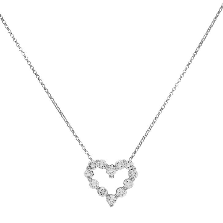 18K White Gold 1.02 Carat Diamond Heart Pendant Necklace