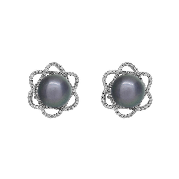 18K White Gold Diamond Framed Tahitian Black Pearl Earrings