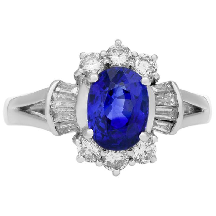 18K White Gold 1.48 Carat Sapphire Diamond Ring