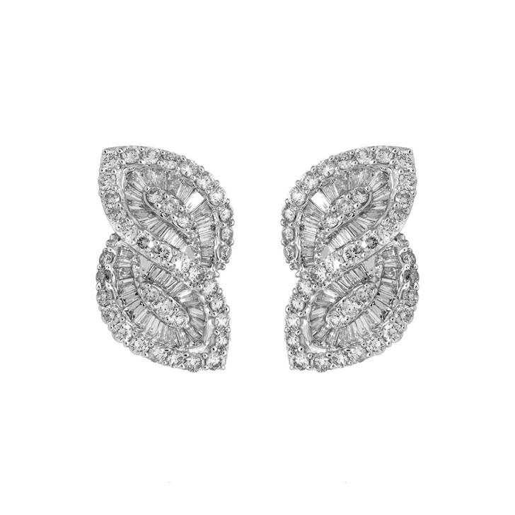 18K White Gold 3.08 Carat Diamond Baguette Earrings