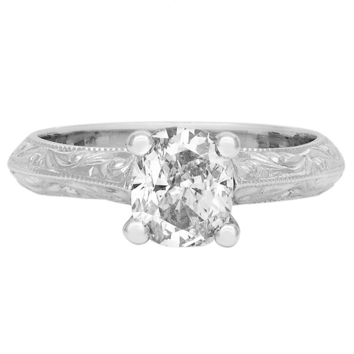 14K White Gold Cushion Diamond Solitaire Ring