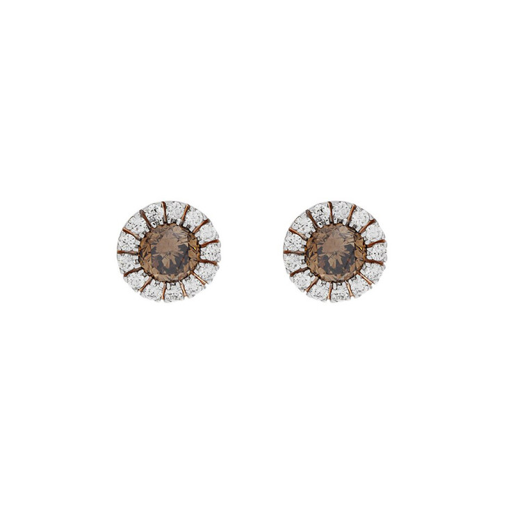 14K Rose Gold Fancy Orange/Brown Diamond Halo Stud Earrings