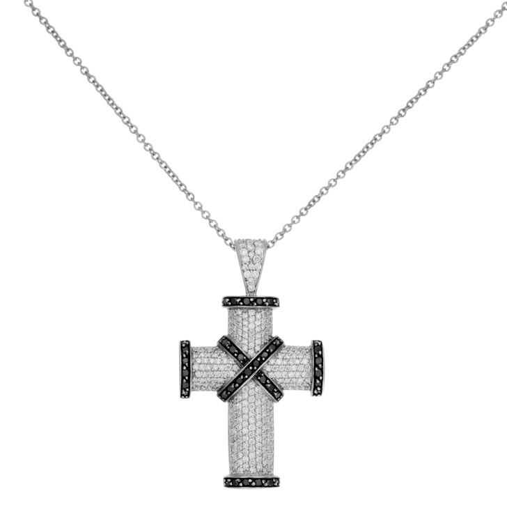 18K White Gold Black & White Diamond Cross Necklace