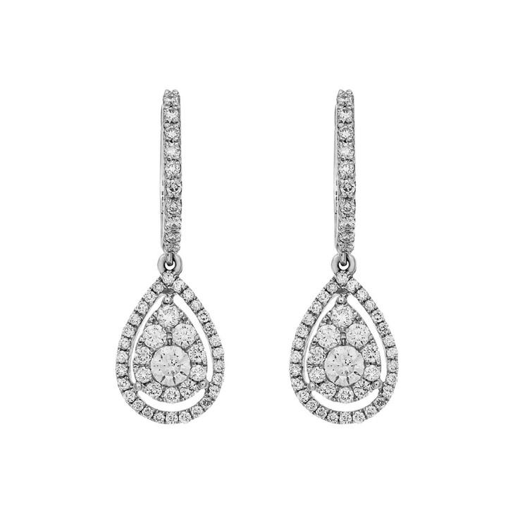 18K White Gold 1.10 Carat Diamond Drop Earrings