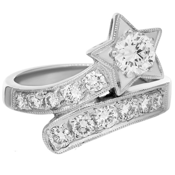 18K White Gold Diamond Star Ring