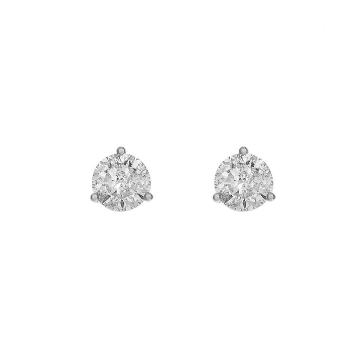 14K White Gold 1.36 Carat Diamond Stud Earrings