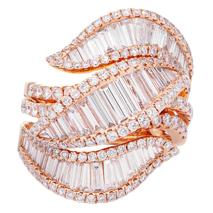 18K Rose Gold 3.35 Carat Baguette Diamond Ring