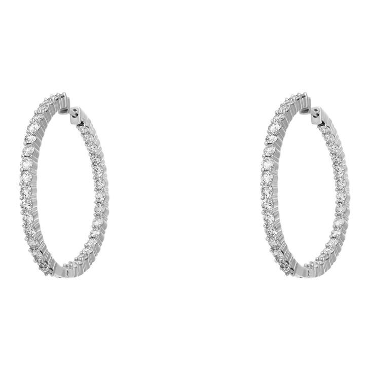 14K White Gold 3.08 Carat Diamond Hoop Earrings