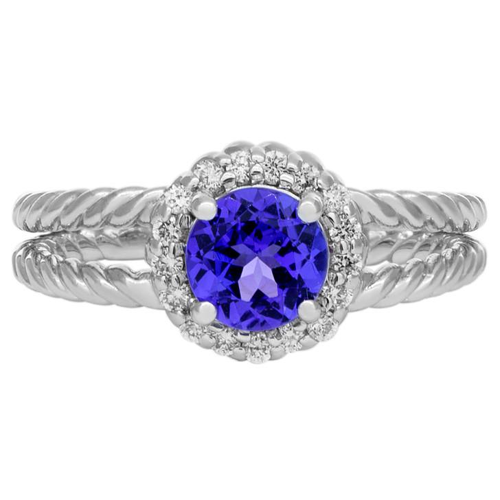 14K White Gold Diamond Tanzanite Ring