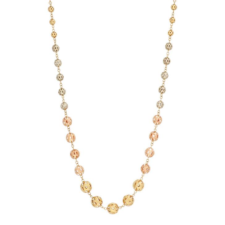14K Tricolor Bead Necklace