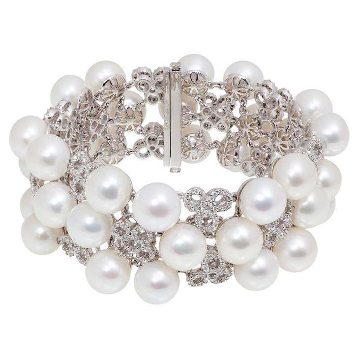 18K White Gold Diamond South Sea Pearl Bracelet