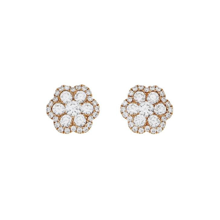 18K Rose Gold 1.74 Carat Diamond Cluster Earrings