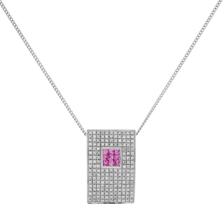 18K White Gold Diamond Pink Sapphire Pendant Necklace