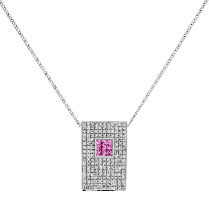 18K White Gold Diamond Pink Sapphire Pendant Necklace