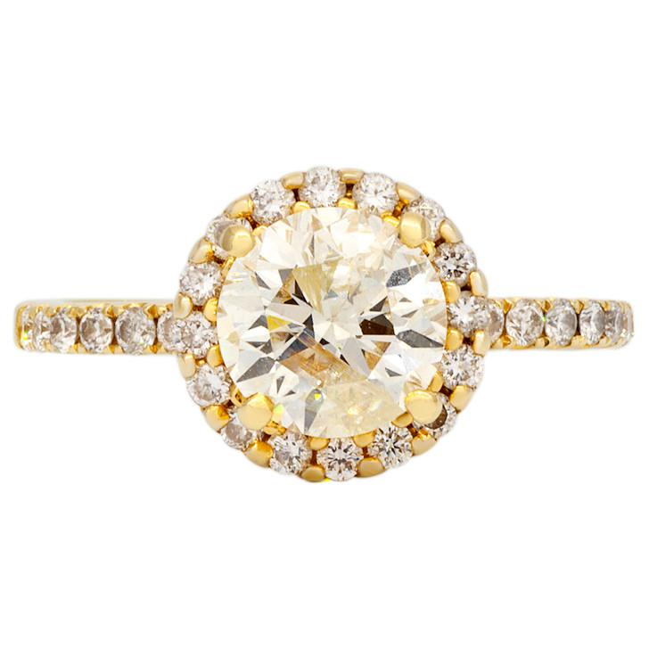 18K Gold 1.19 CTW Diamond Halo Ring