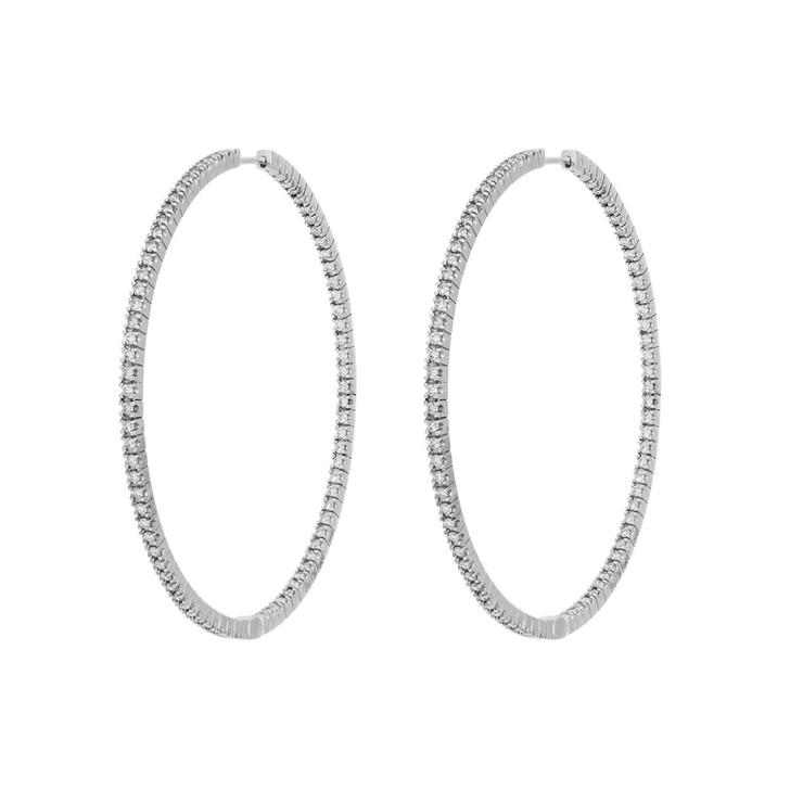 18K White Gold 2.52 Carat Diamond Hoop Earrings
