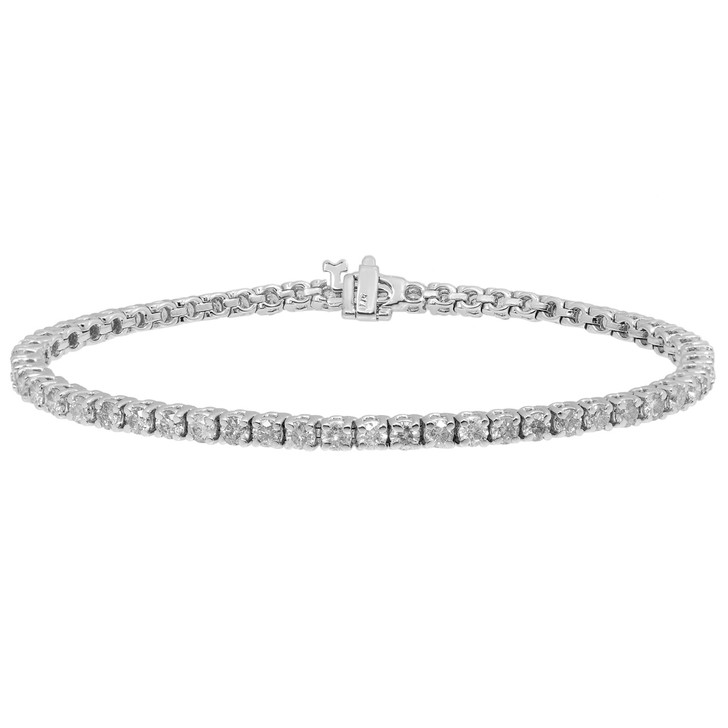 14K White Gold 4.60 Carat Diamond Tennis Bracelet