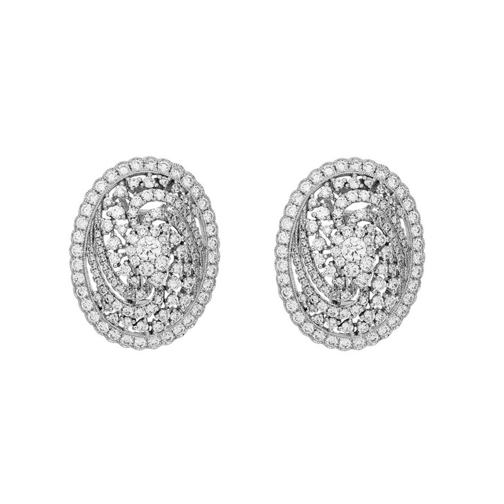 18K White Gold 3.08 Carat Diamond Earrings