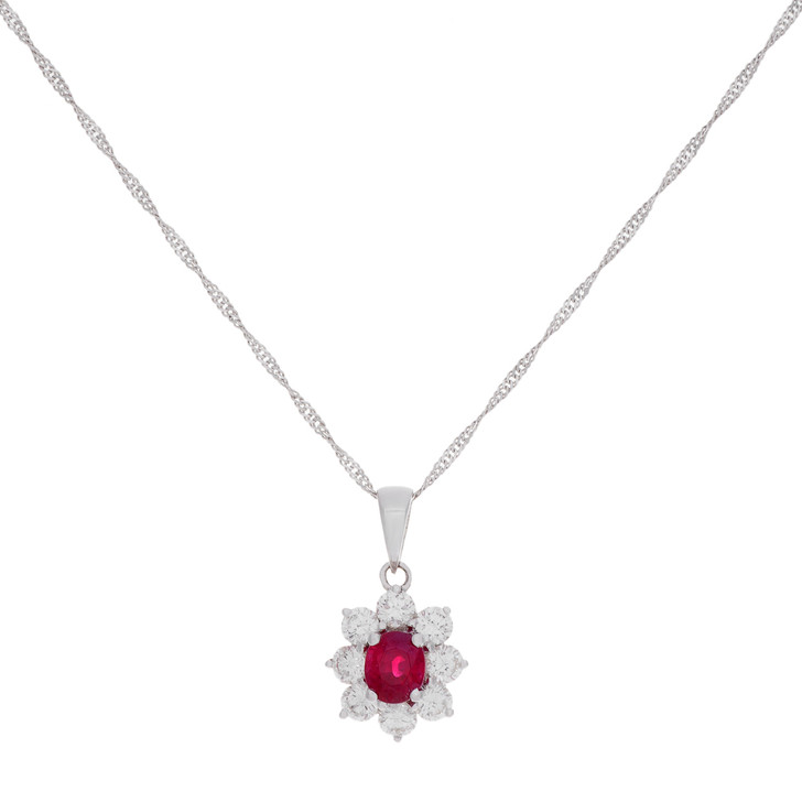 18K White Gold Diamond Ruby Pendant Necklace