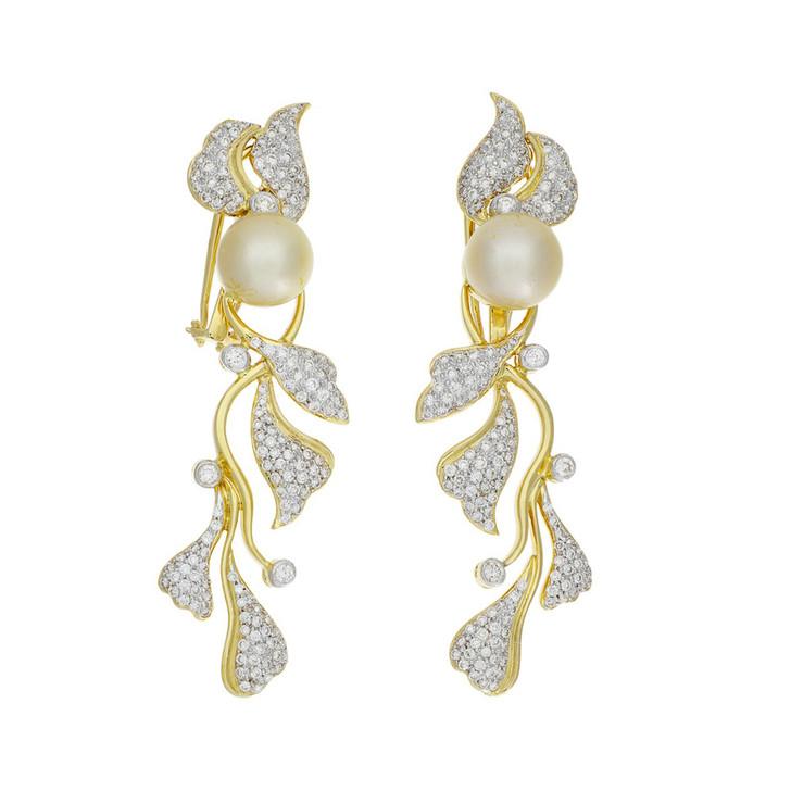 18K Gold Diamond South Sea Pearl Earrings